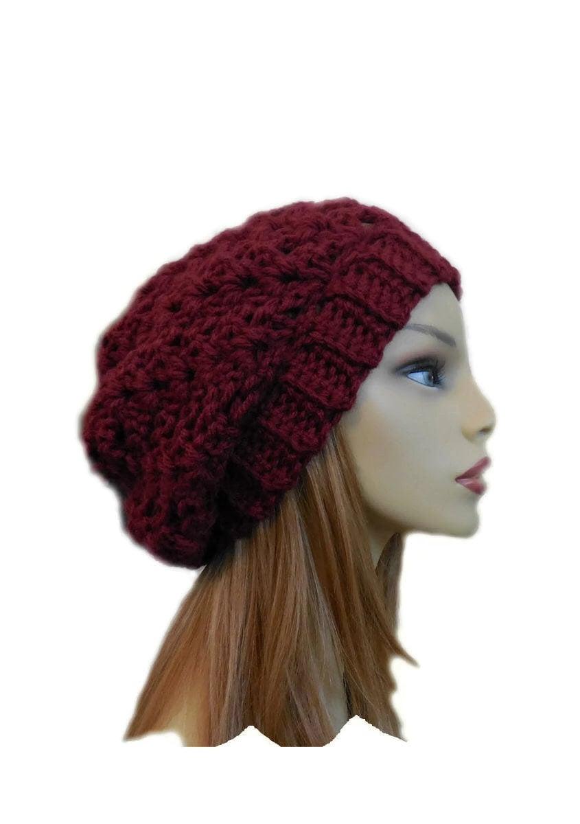 Burgundy SLOUCHY BEANIE HAT Chunky Crochet Knit Slouchie  6b6acda10e7b