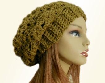 SLOUCHY HAT Crochet Knit Chunky Slouchy Beanie Moss Green w/Gold Undertone Wool Slouch Beany Women Hat Accessories Teen Winter Hat Gift Idea