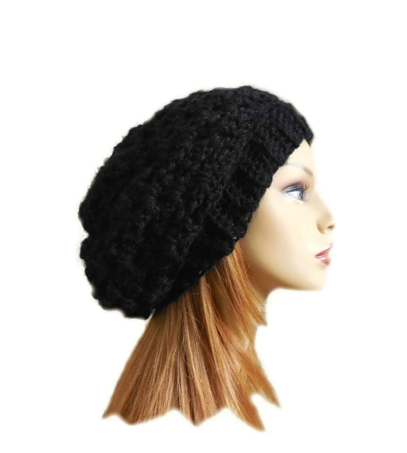 BLACK SLOUCHY Beanie Hat Slouch Knit Slouchie Beany Teen image 0