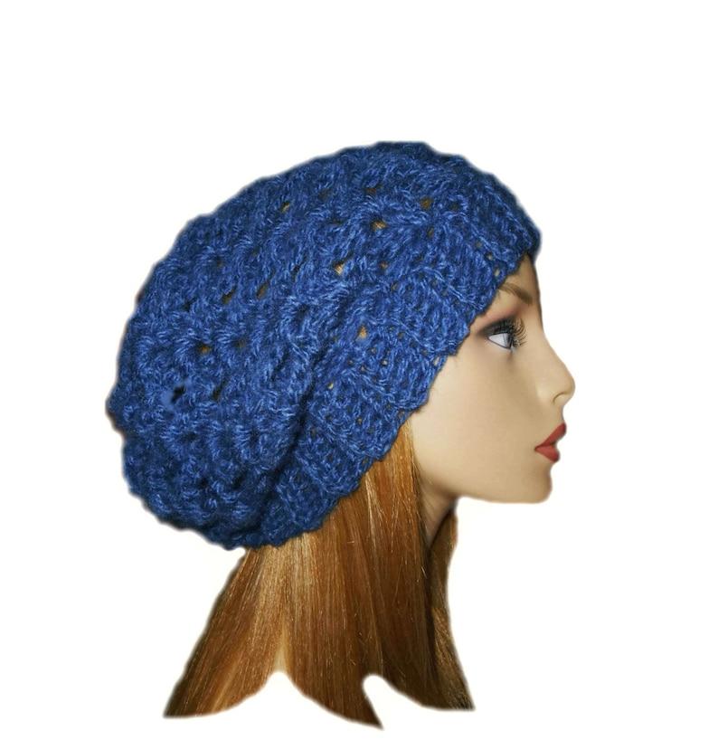 Blue Slouchy Beanie Knit Crochet Denim Blue Beany Slouch Women image 0