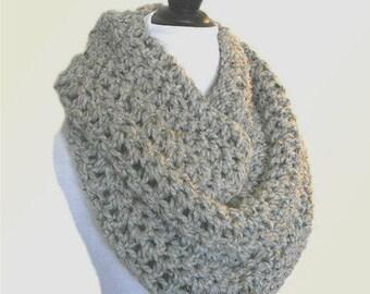 Oversized Knit Scarf Gray Infinity Scarf Oversize Circle Loop Scarf Crochet Grey Wool Infiniti Scarf Cowl Women Scarves Mens Infinity Scarf