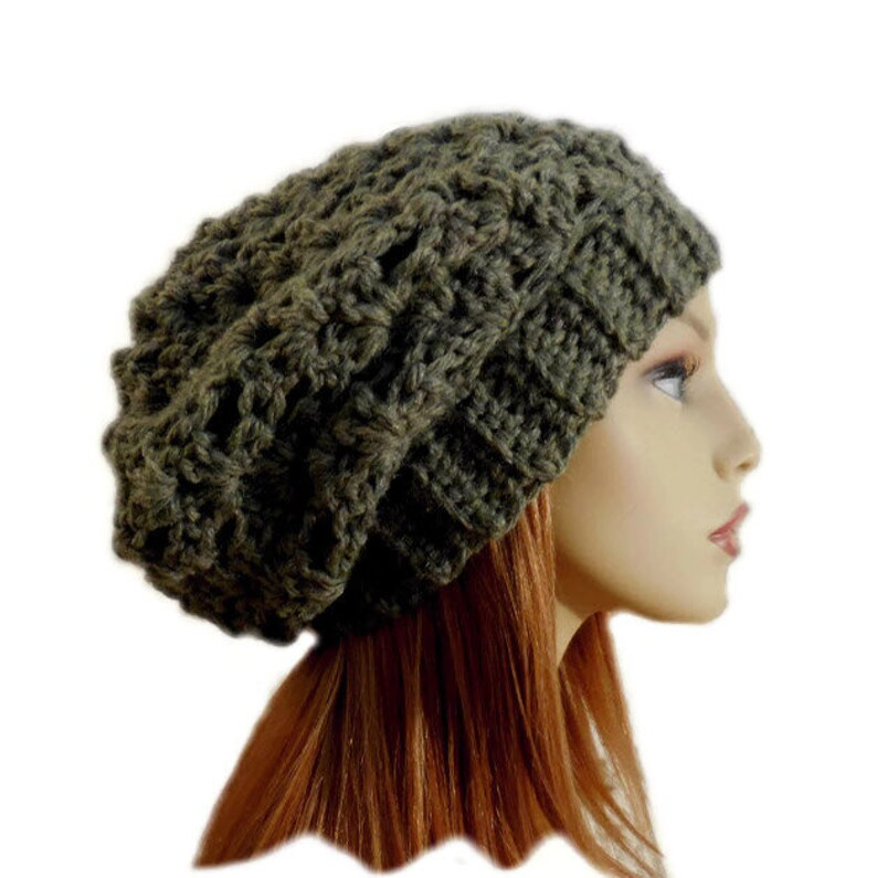 Green Slouchy Hat Crochet Knit Hat Chunky Slouchie Beanie image 0