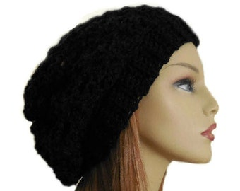 Black Slouchy Hat Festival Clothing Night Club Hat Crochet Knit Slouchy Beanie Slouch Beany Women Hats Accessories