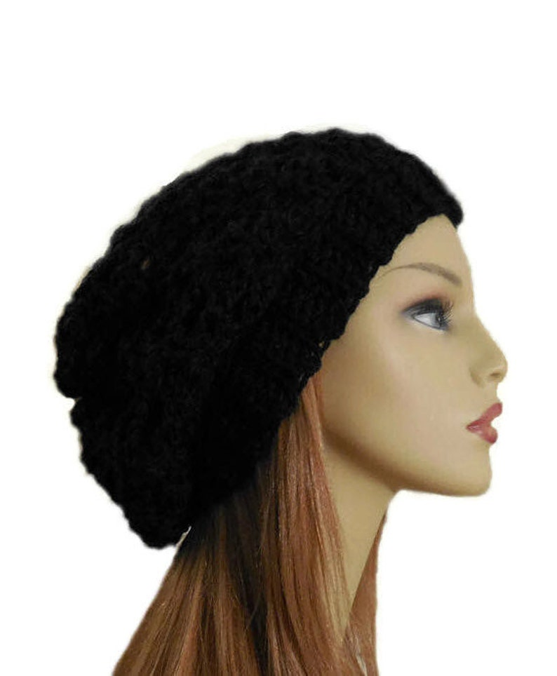 Black SLOUCHY Hat Festival Clothing Night Club Hat Crochet image 0