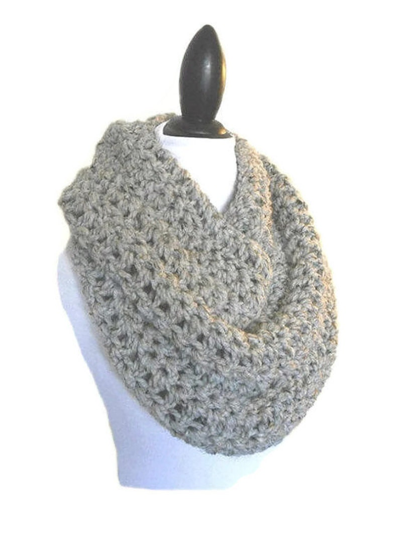 Oversized Knit Scarf Gray Infinity Scarf Oversize Circle Loop image 0