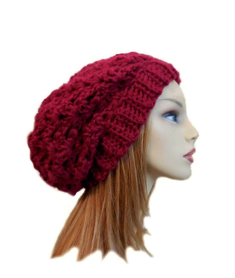 Red Slouchy Beanie Festival Wear Night Club Hat Dark Red Knit  8188c6b097d3