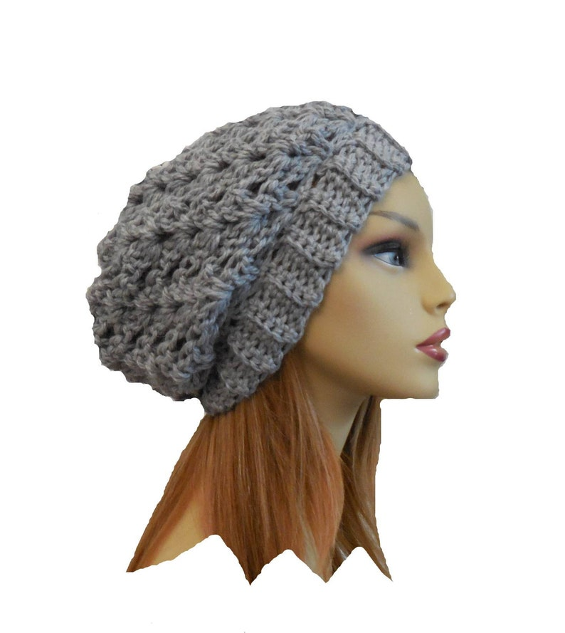 Gray Slouchy Hat Crochet Knit Hat United States Domestic Wool image 0