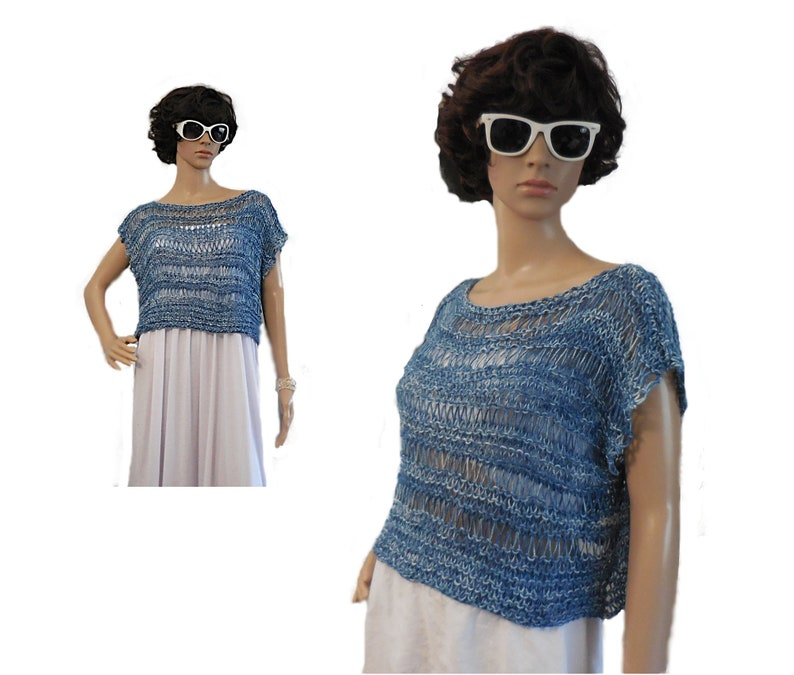 Top Selling Items Crop Top Blue Loose Knitted Crochet Crop Top image 0