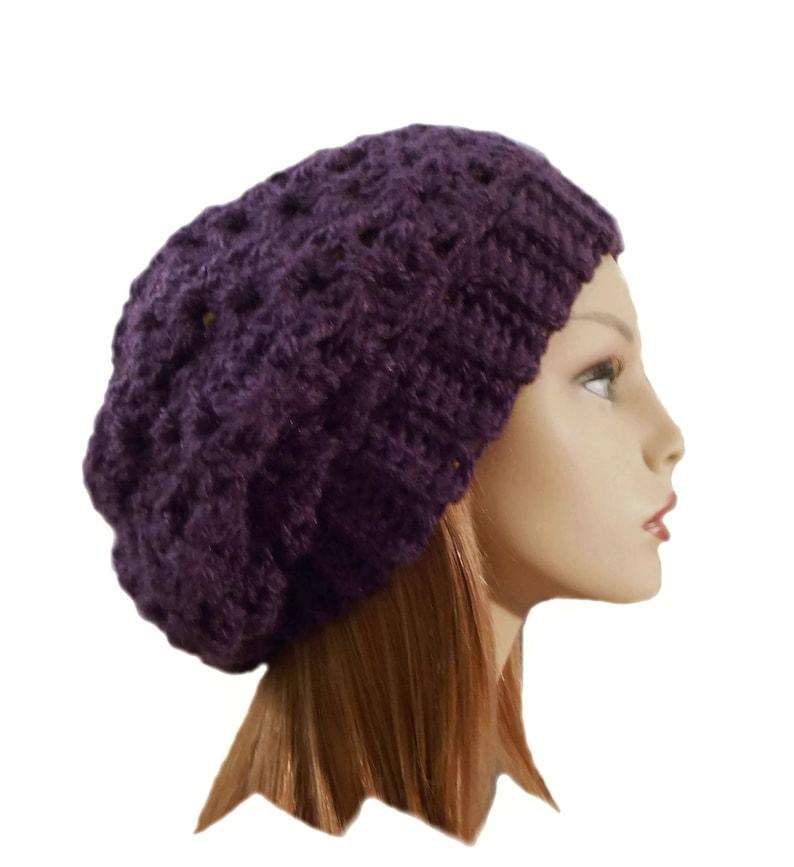 Dark Purple Slouchy Hat Beanie Slouch Hat Womens Accessories image 0