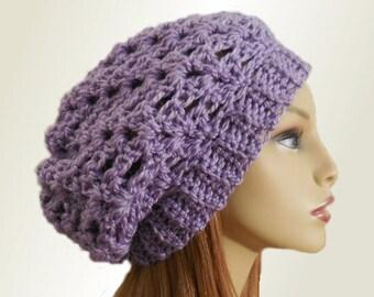 PURPLE SLOUCHY Hat Crochet Knit Wool Lavender Slouchie Beany Light Purple Slouchy Beanie Slouch Beany Women Accessories Teen Hat Great Gift