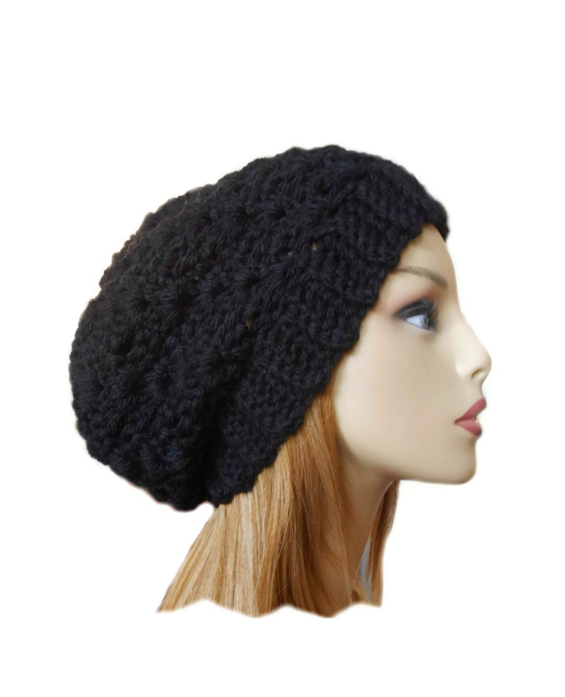 Slouchy Beanie BLACK CROCHET HAT Knit Black Hat Chunky image 0