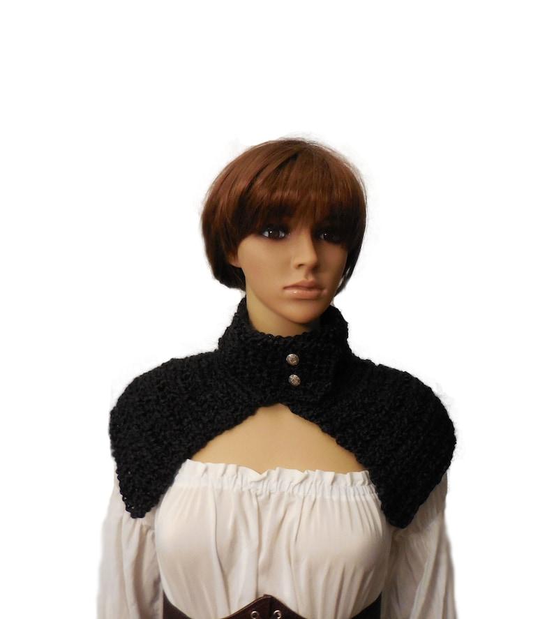 Caplet Black Victorian Costume Gothic Renaissance Fair Mini image 0