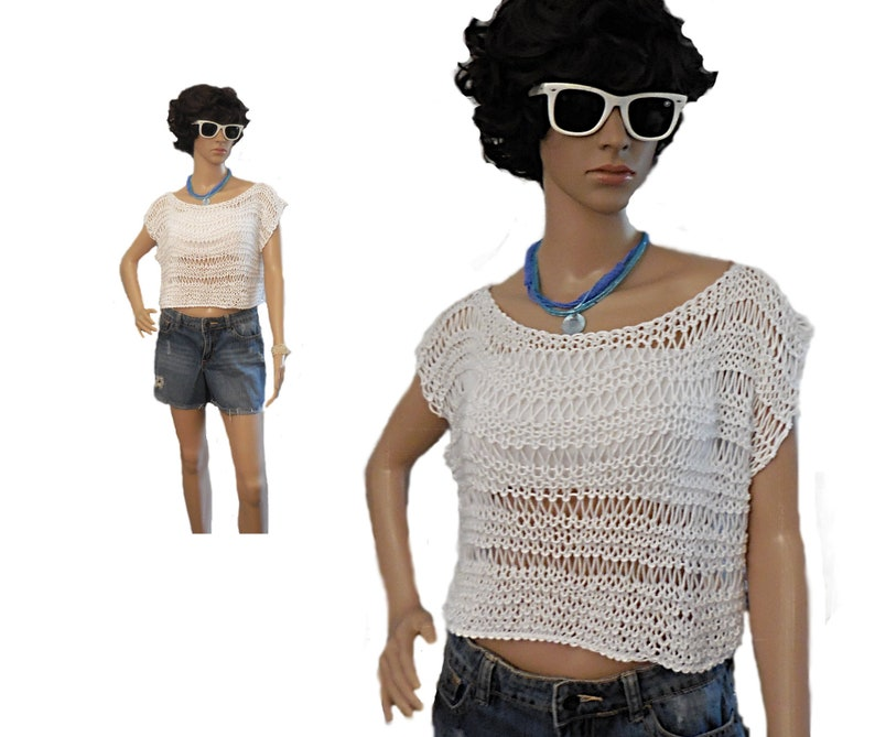 Crop Top White Loose Knitted Cotton Crochet Crop Top Spring image 0