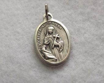 St. Catherine of Siena Religious Catholic Patron Saint Medal Charm Silver Oxidized Pendant