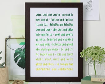 OMBRE GREEN GRAMMAR Print for Grammar Police. Perfect Child or Teenager Colour Bedroom Typography Art. Graduation English Teacher Gift