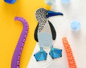 Boobies BLUE FOOTED BOOBY Patch Embroidered Patches to iron on Shirts, Denim Jackets, Cushions, Quilts, Skirts, Backpacks.