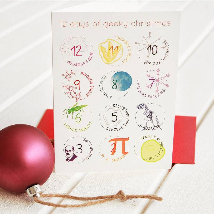 12 Days Geek Christmas Cards Set Funny Science Twist Carol Etsy