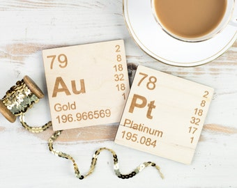 Au-Pt WOODEN COASTERS Set Periodic Table Gold Platinum Elements Father's Day Present Dad Gift Science Chemistry Teacher Gifts for Dad Home