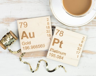 Au-Pt WOODEN COASTERS Set Periodic Table Gold Platinum Elements Father's Day Present Dad Gift Science Chemistry Teacher Stocking Filler Home