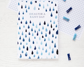 RAINY DAYS NOTEBOOK Watercolour Painted Rain Drops Pattern Blue White Teenager Stocking Stuffer Gift Back to School Teacher Stationery Ideas
