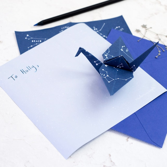constellations origami paper letter writing set etsy