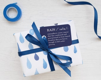 RAIN WRAPPING PAPER Watercolour Set. Blue Painted Drops Pattern Unique Gift Wrap Tags Ribbon Giftwrap Birthday Christmas Party Boys