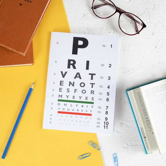 EYE CHART NOTEBOOK Funny Snellen Design Secret Plain Pages Private Note  Stationery Lover Nerd Geek Back School Teacher Gift Optometry Jotter
