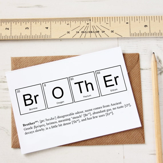FUNNY BROTHER ELEMENTS Cards Funny Sibling Joke Greeting