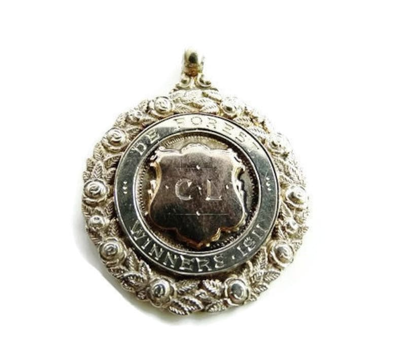 Historic Aviation Antique Birmingham 1911 De Forest Cup Unisex Sterling Silver and Rose Gold Laurel Winners Fob Pendant FREE POSTAGE