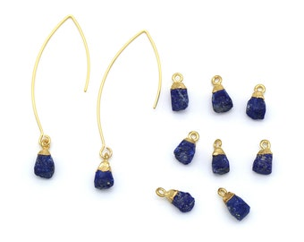 Gemstone Pendant, Lapis, N4-P3, 1 piece, Approx. 10x7mm, 16K Gold Plated 925 Silver & Copper, Nature Stone Pendant, Birthstone Pendant