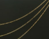 Simple Oval Chain, Nickel free, CJ38-07, 1m, Inner 2x1mm, 16K gold plated copper brass, Anklet Bracelet Necklace chain
