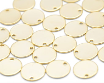MARKDOWNS, Coin disc, Nickel free, B3-G4, 30 pcs, 1 hole, 12mm, 0.8~0.9mm thick, 16K gold plated brass, Brass tags, Jewelry coin disc