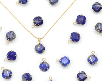 Gemstone Rhombus Charm, Lapis, N25-R4, 2 pcs, Stone Pendant, 8x8mm, Gold Plated Brass, Nature Stone Jewelry, Necklace Making Pendant