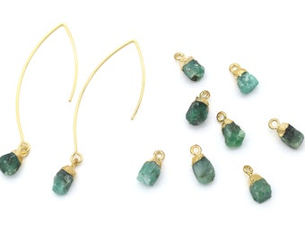 Gemstone Pendant, Emerald, N4-P4, 1 piece, Approx. 10x7mm, 16K Gold Plated 925 Silver & Copper, Nature Stone Pendant, Birthstone Pendant