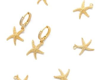 Marine life Ocean life charm Nickel free Star pendant Sea life charm Gold plated zinc alloy 2 pcs O4-G3 Starfish pendant I ONLY