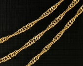 Chain D125HM, CJ07-08, 5m, Design chain, 16K shiny gold plated copper brass, Jewelry component, Jewelry making, Tickness 0.5mm, Length 2mm