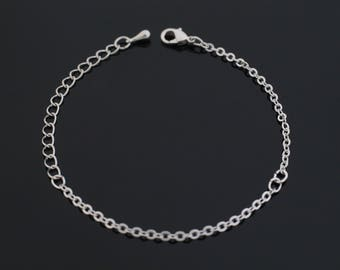 Shiny Rhodium plated chain  Silver  Basic Chain  1.9mm x 2.6mm  RBRH002-CH 3 Meter of 245SF Flat Cable Chain in Rhodium