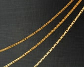 Box chain S , Box1.0DC, CJ25-01, 1m, 1x1mm, 16K gold plated copper brass, Nickel free, Jewelry making chain, Necklace Bracelet chain