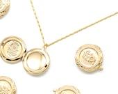 Flower Locket Pendant, Q8-G5, 1 piece, 20mm, Inner 1.7mm link, 16K Gold Plated Brass, Nickel Free, Jewelry Gift Pendant, Keepsake Pendant