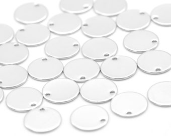 MARKDOWNS, Coin disc, Nickel free, B3-R4, 30 pcs, 1 hole, 12mm, 0.8~0.9mm thick, Original rhodium plated brass, Jewelry supplies