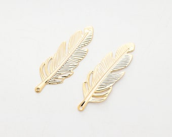 Feather pendant Feather Charm 0.5mm thick S66-G2 10 pcs, 16K gold plated iron Leaf charm Bird feather 35x12mm Nickel free