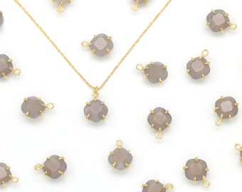 Gemstone Rhombus Charm, Grey Agate, N25-R5, 2 pcs, Stone Pendant, 8x8mm, Gold Plated Brass, Nature Stone Jewelry, Necklace Making Pendant