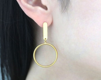 Simple Rounded Bar Post w/ a hole, T54-P3, 19x5mm, 1mm thick, 16K gold plated brass, Nickel free, Earring Making, Dangling Earring Supplies