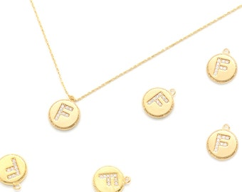 Nickel Free 7mm 1.7mm thick Initial Pendant 16K Gold Plated Brass Approx Alphabet Charm AF-G14 2 pcs Minimal Cubic Capital Letter F