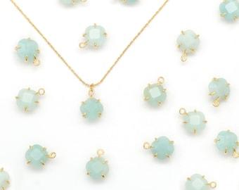 Gemstone Rhombus Charm, Amazonite, N25-R6, 2 pcs, Stone Pendant, 8x8mm, Gold Plated Brass, Nature Stone Jewelry, Necklace Making Pendant