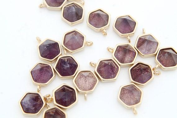 Nature Stone Jewelry Lapis 2 pcs 8x8mm Gold Plated Brass Necklace Making Pendant Gemstone Rhombus Charm Stone Pendant N25-R4
