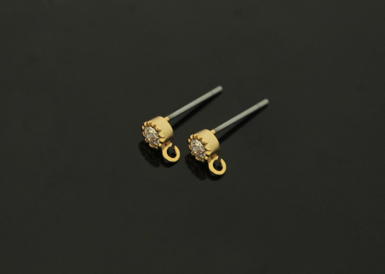 Earring making post Round Cubic Ear Stud w open link Cubic zirconia Jewelry making N31-G6 16K gold plated brass 2 pcs Nickel free