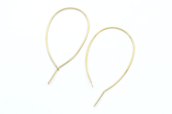 47x25mm Geometric drop earring hoop T22-P2 Openable wire hoop 2 pcs Nickel free 16K shiny gold plated brass Wire 0.9mm thick