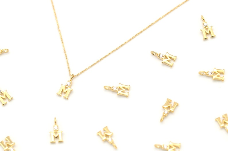 1.7mm thick 7mm Minimal Cubic Capital Letter M 2 pcs Nickel Free AM-G14 Initial Pendant Alphabet Charm Approx 16K Gold Plated Brass