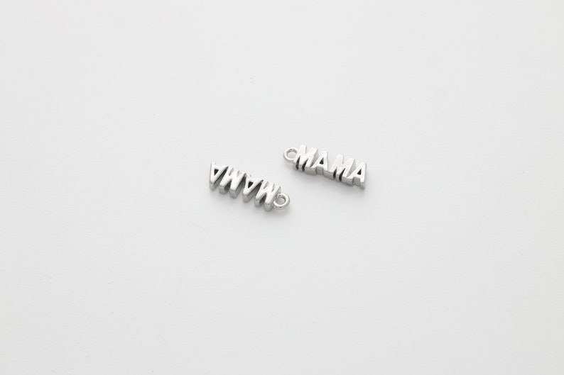 Simple charm Letter charm Brass Tiny MAMA charm N32-VC2 Nickle free Jewelry making supplies 1 piece,